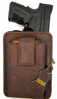 BROWN LEATHER CCW CONCEALMENT GUN PISTOL HOLSTER BELT PACK - RUGER LC9 LC9S