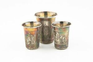 Silver Russia Antique Ukraine Engraved Silver Drinking Cups Set Kiev Zahoder Kiddush To Win A High Admiration