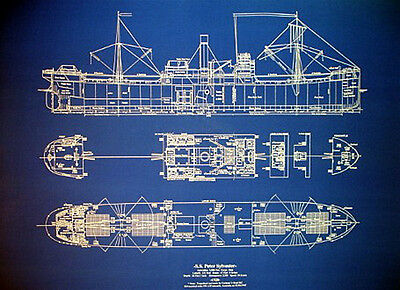 Ships Plan WW2 Cargo Ship Blueprint vessel sunk by German U-Boat 24
