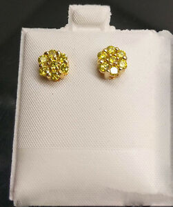 10k yellow gold 1ct round canary diamond flower cluster studs image is loading 10k yellow gold 1ct round canary diamond flower mightylinksfo