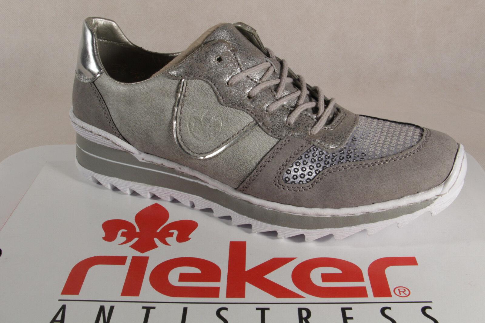 Rieker Damen Schnürschuh, Halbschuh, Sneaker, grau, M6902 NEU!