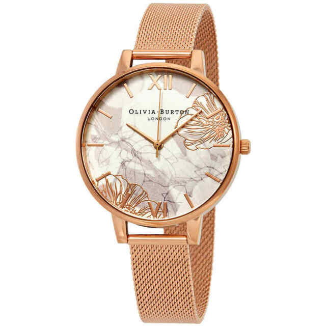 Ladies Olivia Burton Abstract Florals Rose Gold Mesh Watch Ob16vm15 ... 7b272e1a85