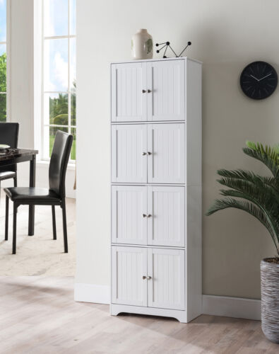 """White Kings Brand Furniture 68/"""" Kitchen Pantry Storage Cabinet with 8 Doors"""