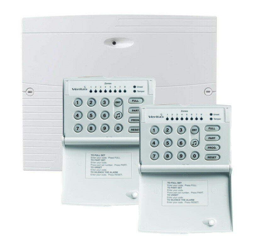 Texecom Veritas R8 PLUS 8 Zone Wired Alarm Control Panel with 2 x ...