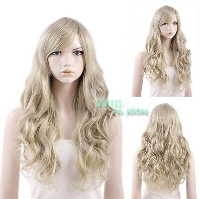 "22"" Heat Resistant Long Curly Ash Blonde Fashion Hair Wig"