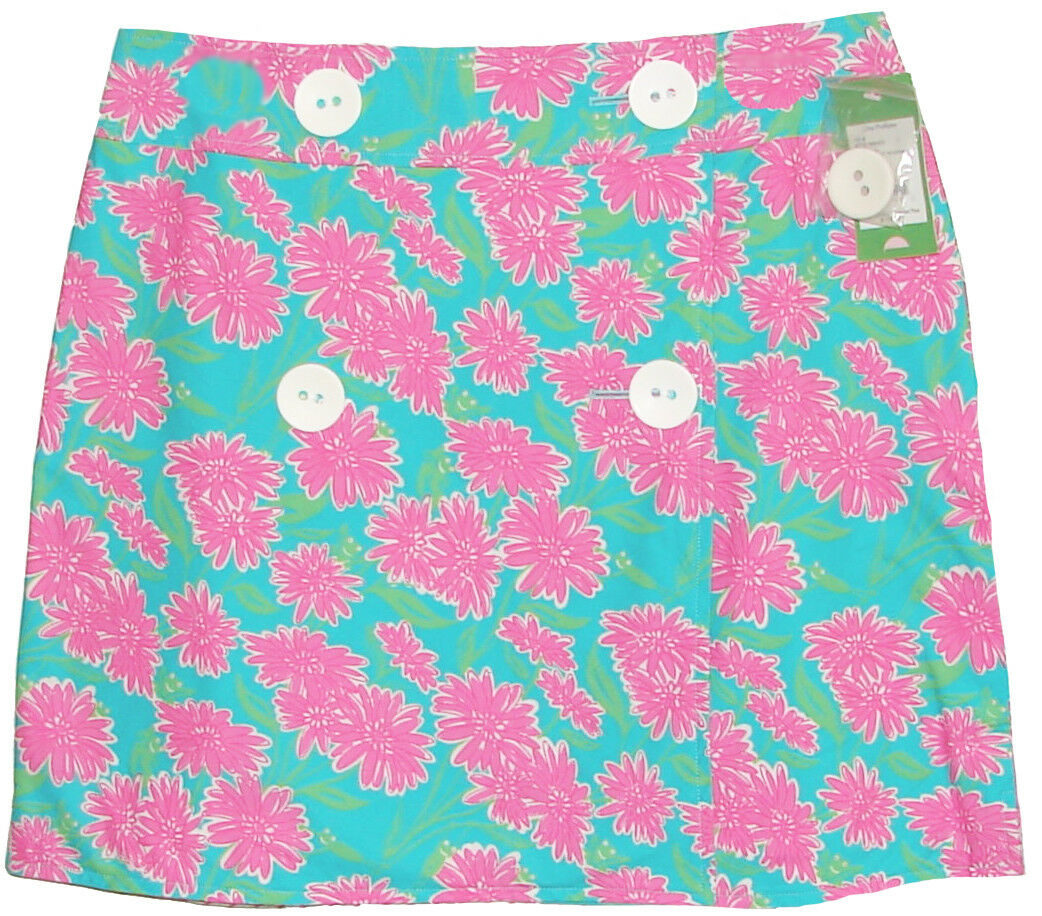 178 Lilly Pulitzer Georgie Combo Floral & Stripe Reversible Wrap Skirt 10