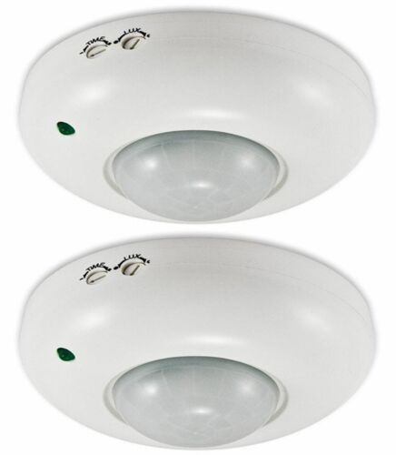 2 x CEILING SECURITY SENSOR WITH PIR 360 DEGREE MOUNTABLE LIGHT DETECTOR SWITCH