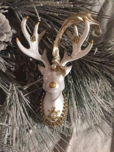 "Pearly White Deer Head With Pearls Rhinestone Trim Ornament Kurt Adler New 5.75"""