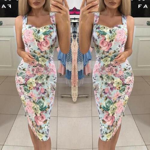 Casual Women Summer Color Block Sleeveless Dress Bodycon A-Line Maxi Sundress