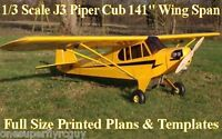 Piper J3 Cub 141 Giant Scale Rc Airplane Printed Plans & Templates