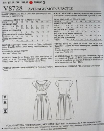 Vogue 8728 Vintage 1946 Design Dress Pattern Sz 8-14 or 16-22