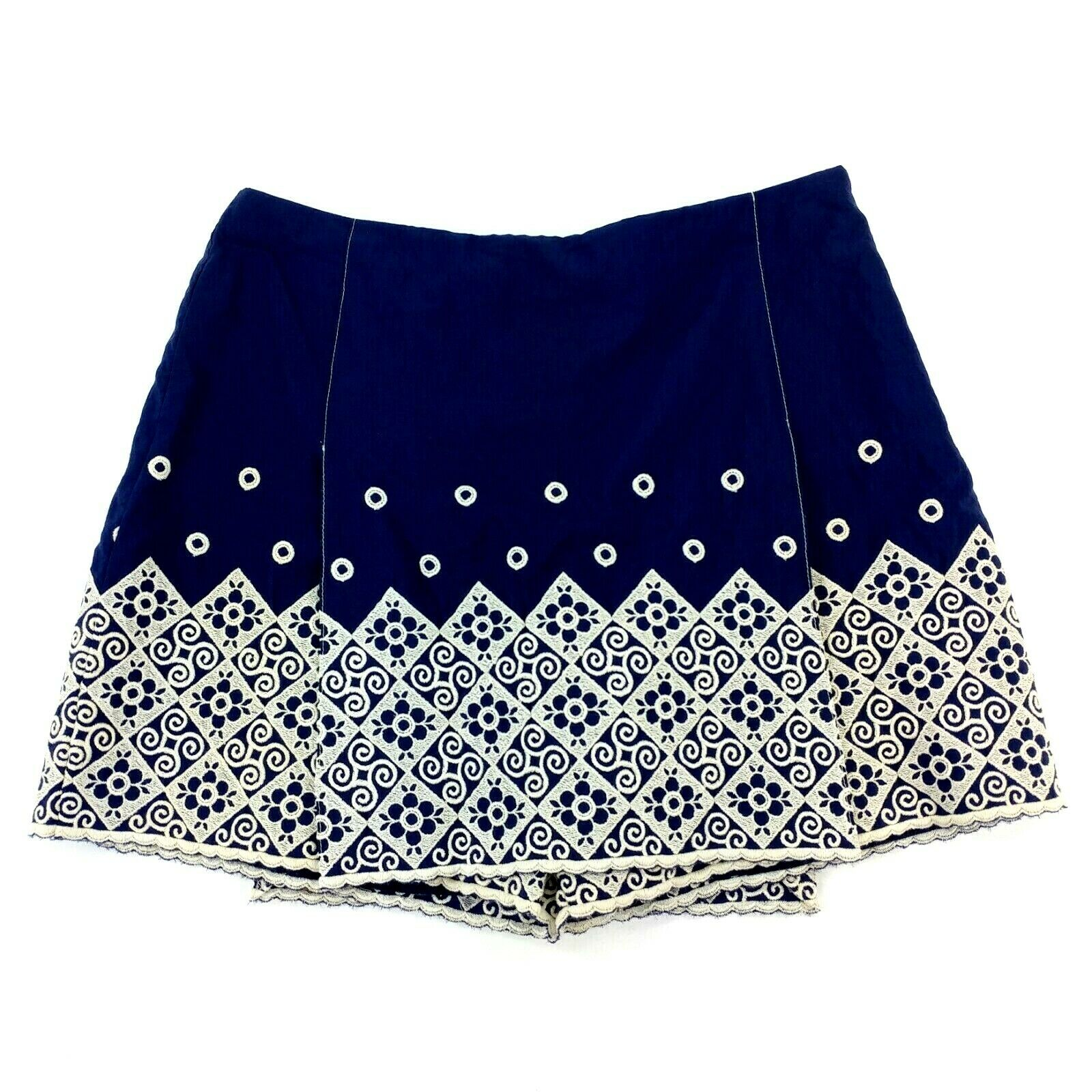Anna Sui Womens Navy Nylon Ivory Embroidered Skort Shorts Size 6