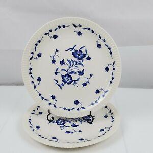 Set-of-2-Vintage-Syracuse-China-Nantucket-10-034-Dinner-Plates-White-w-Blue-Floral