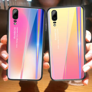 wholesale dealer f8de9 582c4 Details about Aurora Color Tempered Glass Back Case Cover For HUAWEI Honor  Play 10 V10 P20