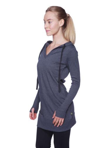 Women/'s Long Body Hoodie Top Charcoal w//Black