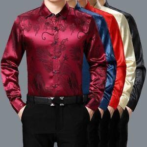 men faux silk satin shirt business formal long sleeve