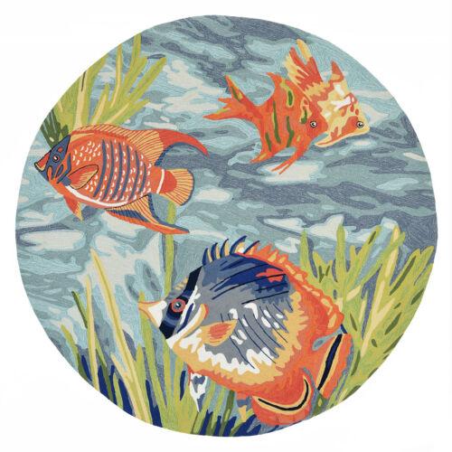 AREA RUGS - SOUTH SEAS INDOOR OUTDOOR RUG - 5' ROUND - TROPICAL FISH RUG