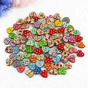 50PC-Multicolor-Wood-Sewing-Buttons-Scrapbooking-Pattern-FloralHeart-Mixed-Art