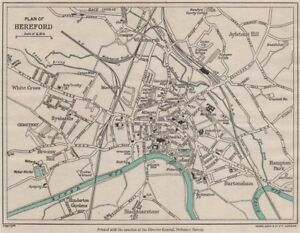 HEREFORD vintage towncity plan Herefordshire WARD LOCK 1948 old