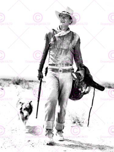 Vintage Photography Movie Film Star Duke John Wayne Dog Canvas Art Print