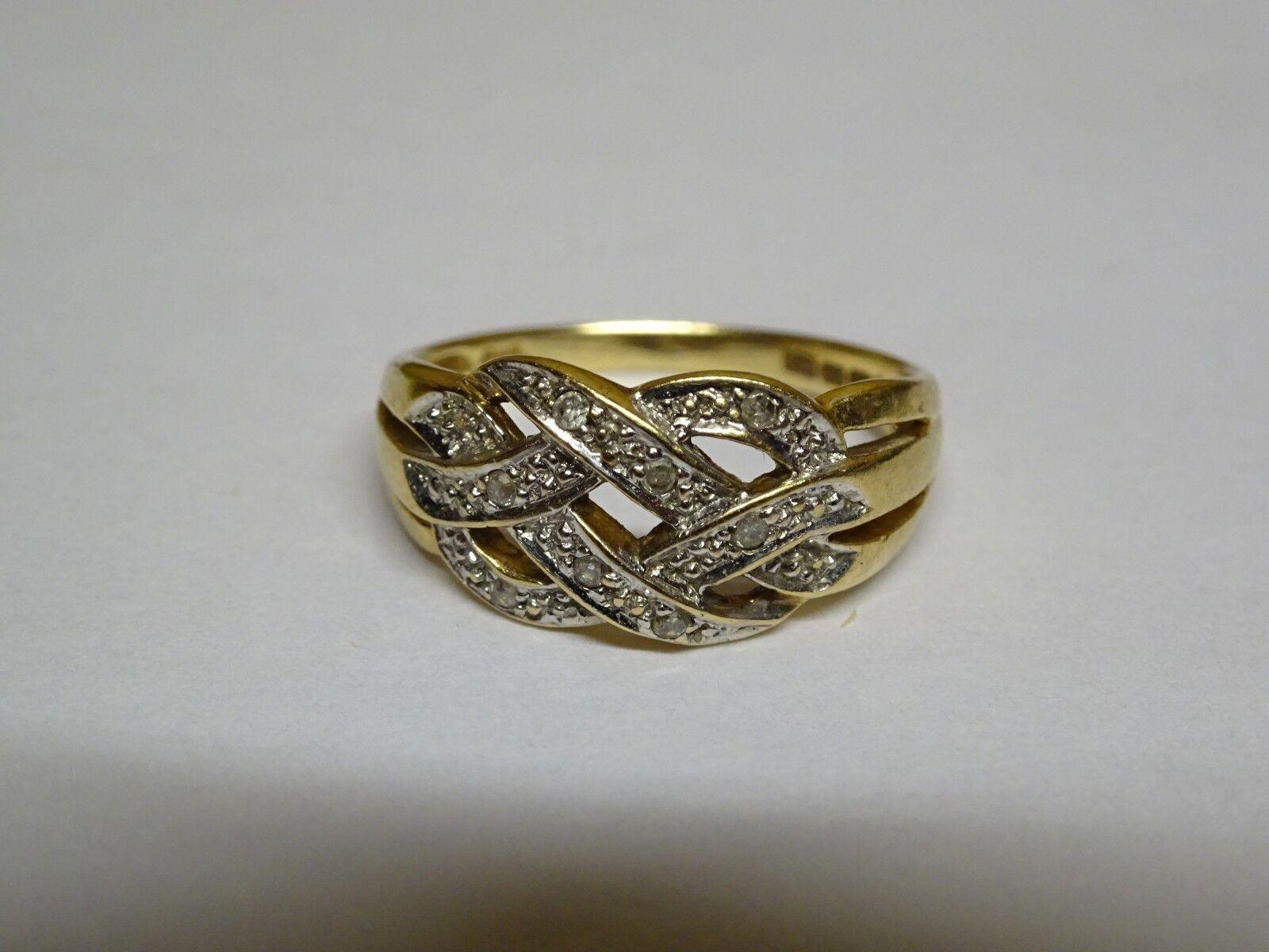 VINTAGE 9ct 9ct 9ct oro giallo stile di intreccio e Diamante Anello-Dimensione N - 2.24g b95d9c