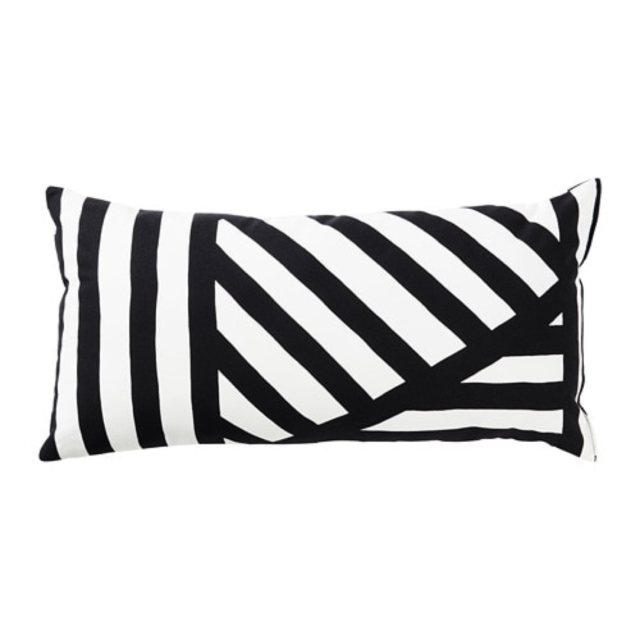 Ikea Skarvfro Cushion Black White 12x24 00425838