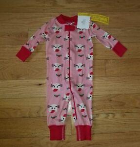 Girls' Clothing (newborn-5t) Clothing, Shoes & Accessories New Girls Hanna Andersson 60 6-9 M Christmas Santa Kitty Cat Pajamas Sleeper Nwt