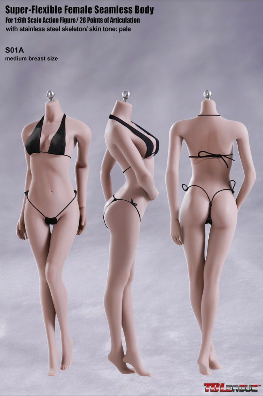 TBLeague Phicen Seamless Female MID bust body w// Steel Skeleton Pale 1//6 S01A