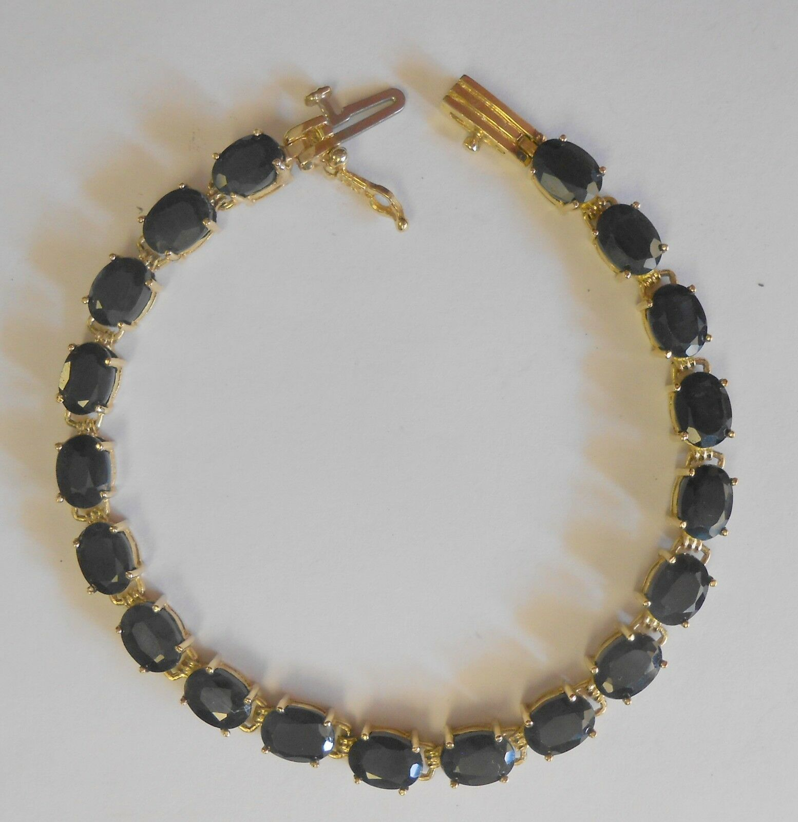 Lrg 7 mm Dark blueee Sapphire 10K Yellow gold Tennis Bracelet Bracelet 7