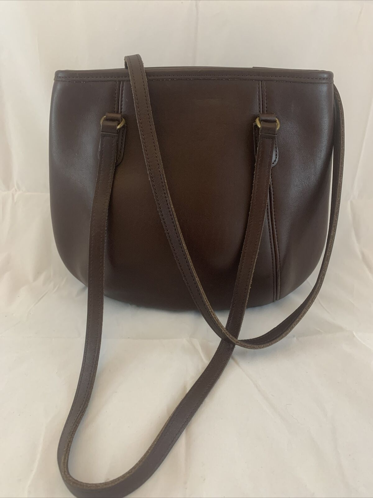 Vintage 90s Coach Framed Pouch Brown Leather Purs… - image 1