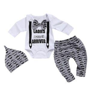 b0fc2aab Details about Newborn Clothes Set Baby Boys Set 3Pcs Bow Tie Infant Print  Long Sleeve Cotton