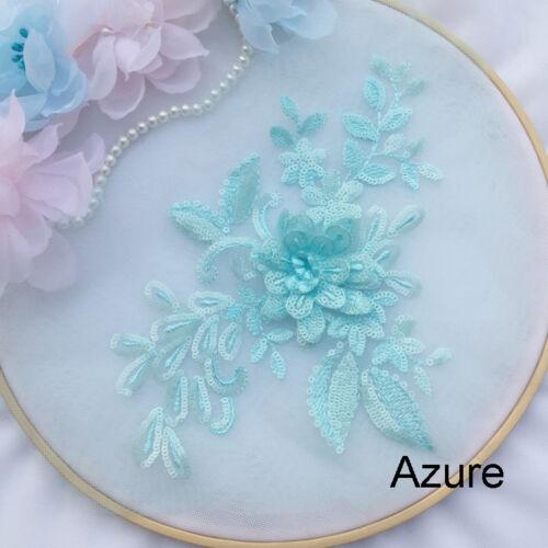 24 colores con cuentas de encaje y apliques bordados 3D Hágalo usted mismo Vestido para Boda Artesanías Recorte 1 PC