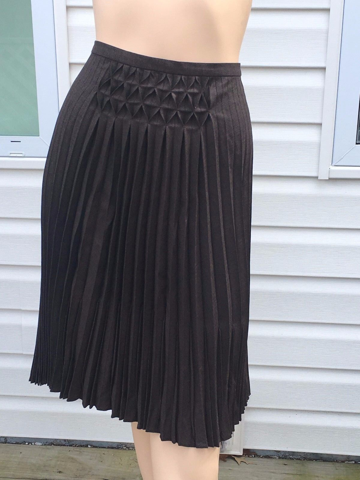 Max Studio Brown Pleated Midi Skirt Sz 10 Wool Spandex Blend NWT Orig  198