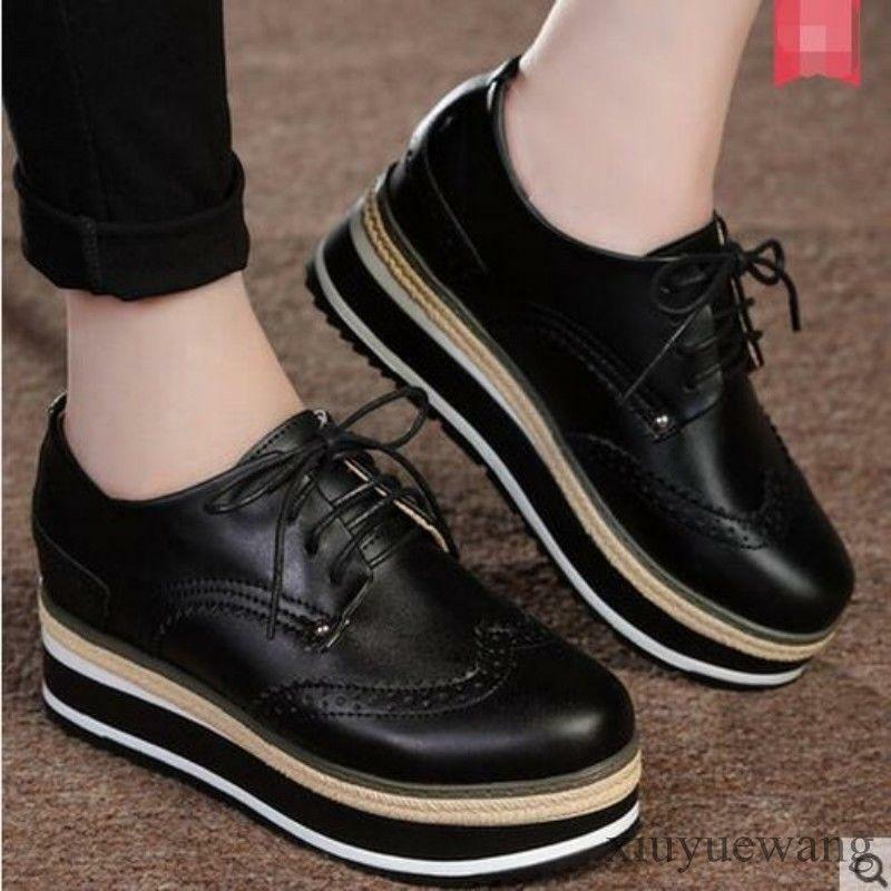 Womens PU Leather Brogue Oxford Lace up Platform Round Toe British Style Shoe SZ