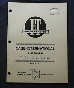 CASE IH DAVID BROWN 1190 1290 1390 1490 1690 1394 1494 1594 TRACTOR I & T MANUAL