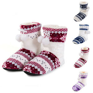 Women-039-s-Winter-Flat-Cotton-Floral-ball-long-tube-Shoes-Boot-Home-Ladies-Boots