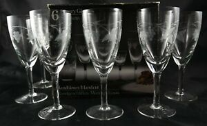 6-Fine-Vintage-Royal-Wessex-Lead-Crystal-Sherry-Glasses-Original-Boxed