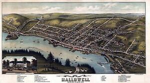 1878 HALLOWELL panoramic MAINE map GENEALOGY atlas poster KENNEBEC county ME 7