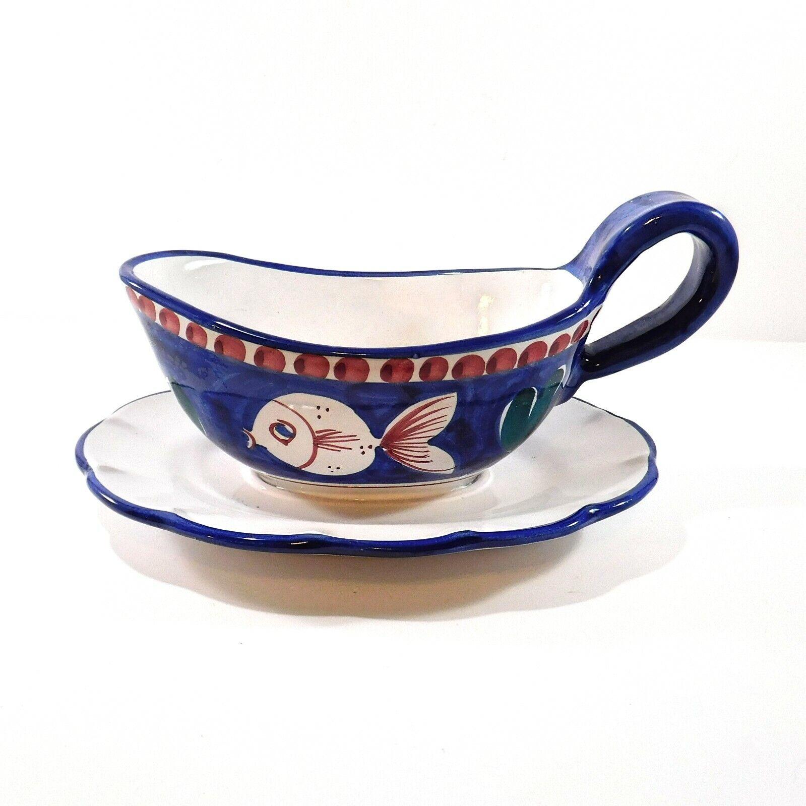 Solimene Italy Gravy Boat With Attached Underplate Fish Blue Ceramic Handmade Ebay