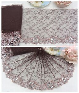 7-5-034-1Y-Embroidered-Floral-Tulle-Lace-Trim-Brown-Special-Enchantment-Sewing