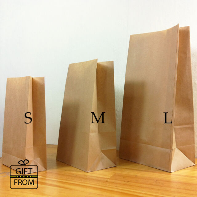 x12, 50, 100 Plain Kraft Brown Paper Gift Wedding Favor bags_flat bottom bags