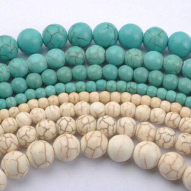 20-100Pcs Howlite White/Blue Turquoise Gemstone Round Loose Beads DIY 4 6 8 10mm