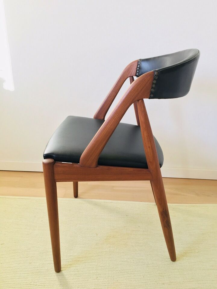 teak stol læder