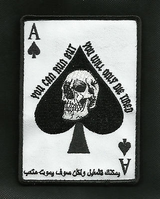ARABIC ACE OF SPADES DEATH CARD TACTICAL BADGE MORALE VELCRO MILITARY PATCH