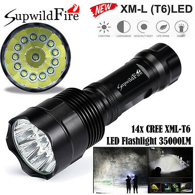 Super Bright 35000Lm 14x XM-L T6 LED 5-Mode 18650 Flashlight Torch Light Lamp