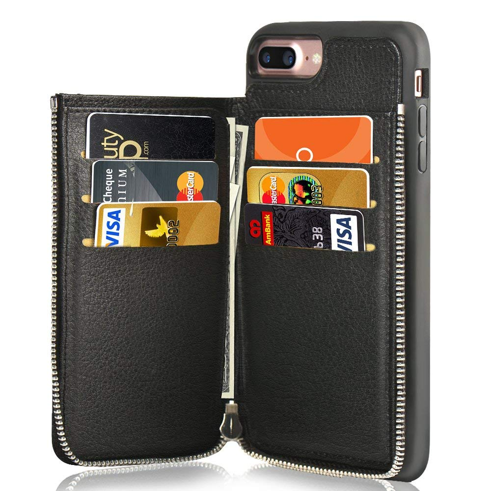 huge discount bb12f 37ec7 Credit Card Holder Slot Case With Zipper Wallet Cover For Iphone 7 Plus -  Black