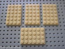 4 Plaques LEGO tan plate 4 x 6 ref 3032 / set 6210 7898 7621 7110 4512 7115 7194