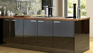 Black-High-Gloss-Kitchen-Unit-Doors-Drawers-with-Handles-by-Cooke-Lewis-B-Q