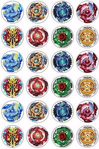 24 X Beyblade Wafer Rice Paper Cupcake Toppers Edible Cake
