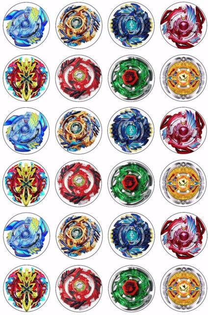 graphic regarding Pokemon Cupcake Toppers Printable named 24 x Beyblade Wafer Rice Paper Cupcake Toppers EDIBLE CAKE DECORATIONS Bey Blade